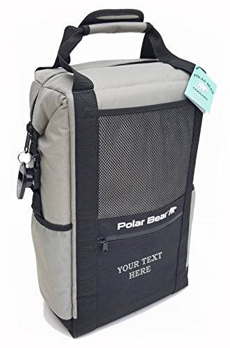 Polar Bear Coolers Customizable Soft Cooler - Text/Monogram Embroidery - Best Personalized Gift - Best Groomsmen Gift (Backpack, Silver)