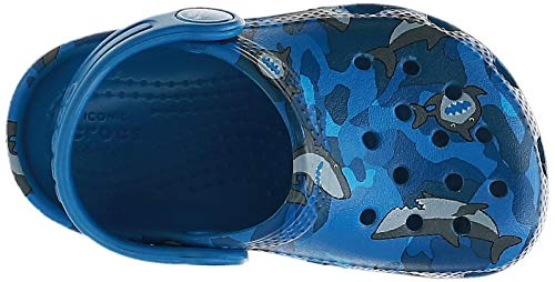 Crocs Baby Kid's Classic Shark Clog|Slip On Water Shoe for Toddlers, Boys, and Girls, Prep Blue, C6 M US