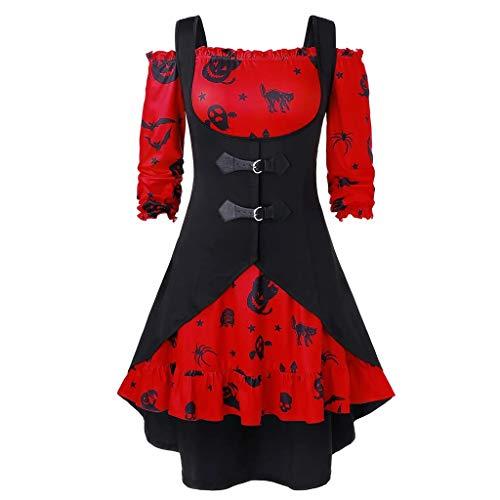Transwen - Vestido de Fiesta para Mujer, hasta la Rodilla, Estilo Retro, con Estampado de Calabaza, sin Hombros, con Chaleco Rojo XXXXL