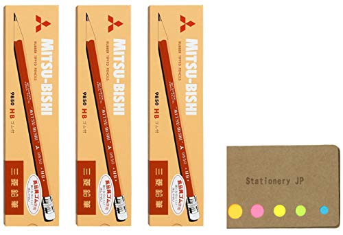 Uni Mitsubishi 9850 Pencil with Eraser, HB, 3-Pack/Total 36 pcs, Sticky Notes Value Set