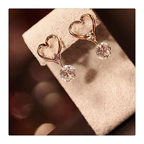 zaizai Pendientes Colgantes De Cristal De Moda para Mujer, Pendientes De Perlas Elegantes De Moda Simple, Joyería De Temperamento De Diamantes De Imitación Femenina (Color : Heart Shape)