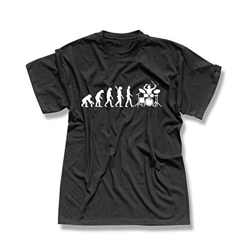 T-Shirt Evolution Drummer Schlagzeug Tama Pearl Gretsch Evo Yamaha Ludwig Roland Remo Band Musik Musiker 13 Farben Herren XS-5XL, Größe:XS, Farbe:schwarz - Logo Weiss