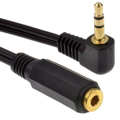 CABLEPELADO Cable alargador Jack 3.5 mm acodado Dorado 0.50 M Negro