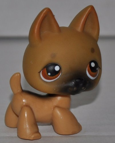 German Shepherd #61 (Tan, Black Accents) Littlest Pet Shop (Retired) Collector Toy - LPS Collectible Replacement Single Figure - Loose (OOP Out of Package & Print)