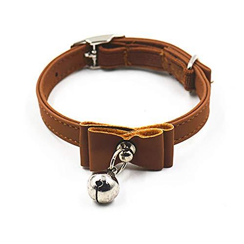 Ogquaton - Collar de piel para mascotas ajustable con lazo y campana, color marrón