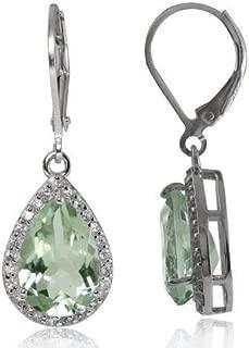 12X8 mm. Elegant Oval Gemstone 925 Sterling Silver Drop Dangle Leverback Earrings
