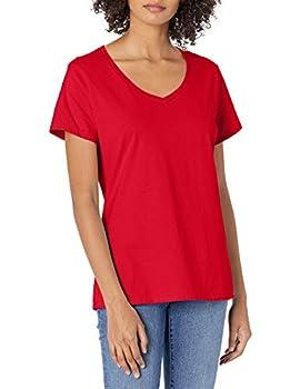 Hanes womens Nano Premium Cotton V-neck Tee athletic shirts Deep Red X-Large US