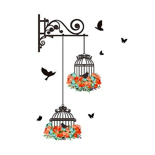 WINOMO Adesivi da Parete Adesivo con Uccelli Gabbie Fiori e farfelle per Decorazioni murali