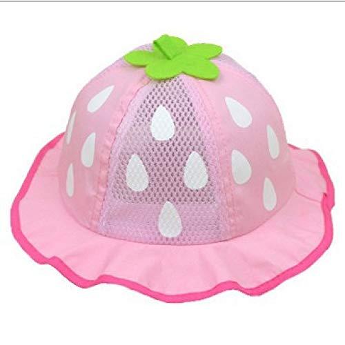 mlpnko Kinder Hut Baby Erdbeer Regen Punkt Prinzessin Hut Sonnencreme Visier Tourist Fischer Hut Netzkappe Rosa 46-48cm
