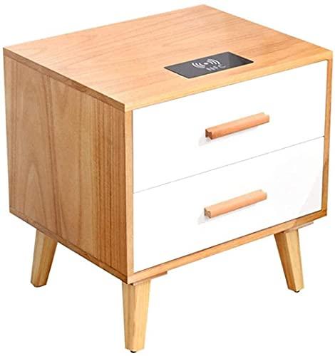 wsbdking Filskåp Nightstand massivt trä sängbord, sovrum sängbord, med trådlös laddning två-låda hörnbord sidobord (färg: d) (Color : D)