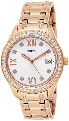 Guess Unisex Erwachsene Datum klassisch Quarz Uhr mit Edelstahl Armband W0848L3