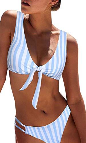 Yuson Girl Conjunto de bikini de cintura alta para mujer con diseño de rayas y parte superior acolchada, sujetador de 2 piezas, anudado, traje de baño recortado, traje de baño para mujer