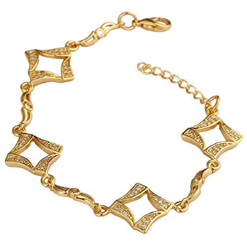 joyliveCY 2018la moda mujer elegante cuadrado Pierced placa de oro/oro rosa pulsera regalo para niña