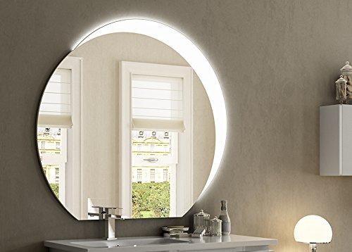 Arredobagnoecucine Coiffeuse Miroir Bain Fil Brillant Design, avec Bandeau LED supérieur, cm.100 x 108