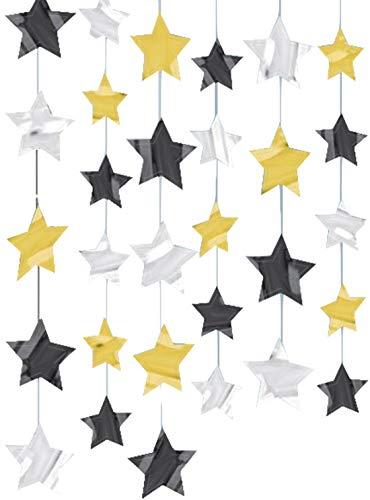 Slinger verjaardag Kerstmis feest als plafondhanger ster goud zilver zwart 6x2m
