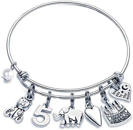 M MOOHAM 5th Birthday Bracelet Gifts for Girls Five 5 Year Old Girls Gifts Birthday Charm Bracelet product image