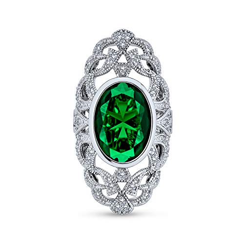 Bling Jewelry Antiguo Verde Filigrana Zirconio Cúbico Armadura Completa Dedo Anillo Largo CZ Esmeralda Simulada Latón Chapado Plata