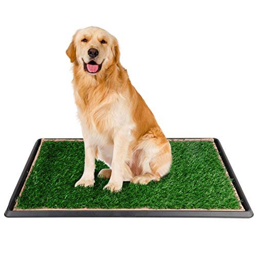 DELMANGO Indoor Dog Potty Grass Pad - Puppy Potty Training Artificial Grass Mats,Dog Fake Grass Pee Pad with Tray,Reusable 3 Layered Dog Potty Trainer,Easy to Clean