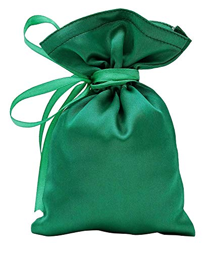 """50 Satin Drawstring Gift Pouch Small Wedding Party Favors Bag -5"""" x 7 inches Baby Shower Thank You Pouches- Emerald Green"""