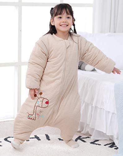 Baby Kid peuter fleece slaapzak, dikke babyslaapzak met gespleten pijpen, katoenen anti-kick-quilt-1910 Fawn_XXL code 95, baby-inbakerdeken voor kinderwagen