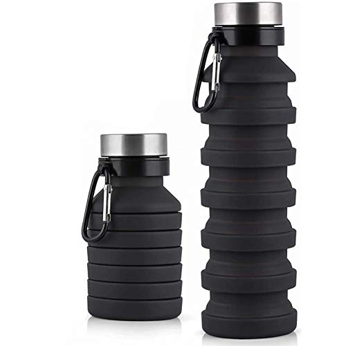 EcomKingdom Collapsible Water Bottle   BPA Free 550ml/18oz Reusable Water Bottle with Carabiner   Sports Silicone Travel Water Bottle Leakproof Portable Foldable Bottle for Outdoor Camping Gym Hiking
