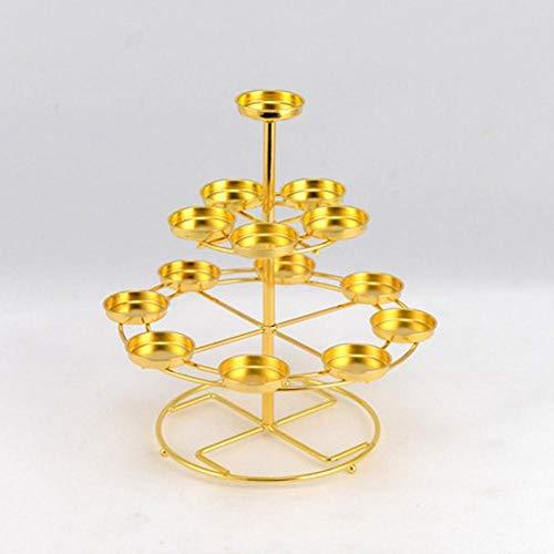 Liuxiaomiao Kerzenhalter 3 Tiers Kerzenhalter 14 Butterlampe Kerzen Kerzenständer for den täglichen Beten Sie setzen könnte oder Buddhismus Worship...