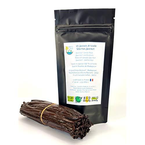 Gousses de vanille Bourbon de Madagascar sélectionnées par Grandes Îles. 10 gousses Gourmet extra fraiches non fendues 14cm / 2 g environ chaque gousse. Qualité extra en sachet fraîcheur refermable.