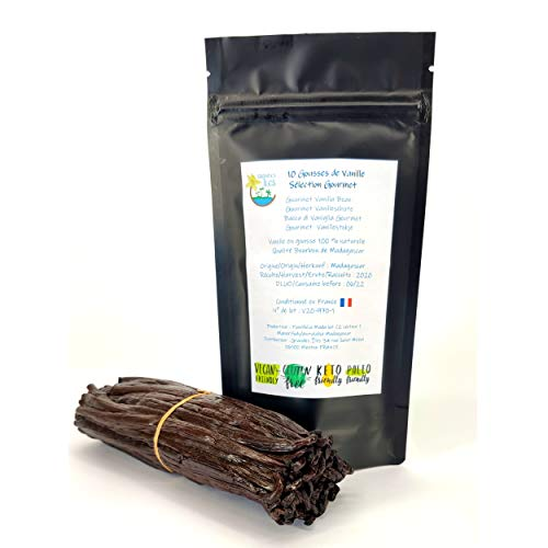 Gousses de vanille Bourbon de Madagascar 10 gousses Gourmet extra fraiches non fendues 14cms/ 2 gr environ chaque gousse. Qualité extra en sachet fraicheur refermable sélectionnées par Grandes Îles.