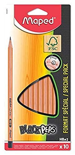 Maped - 10 Crayons Graphite Black'Peps - 10 Crayons à Papier HB Embout Peint - Ergonomique et Triangulaire - Crayons en Bois Certifié 100% FSC
