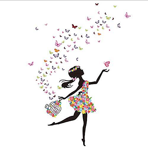 Wandtattoo für Wandaufkleber, Motiv: Fee Blume Elfe Mädchen Wanddekoration für Küche Flur Wohnzimmer Sticker