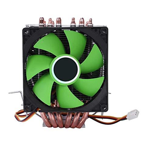 CHENHUA Ventilador de enfriamiento de Alto Rendimiento De Doble Ventilador de la CPU del radiador 6 Pipa de Calor del radiador del radiador 3 Pines for 775/1150/1155/1156/1366 for AMD (Color : Green)
