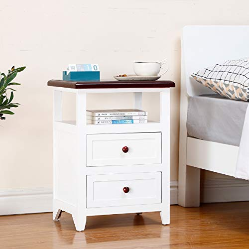 EXQUI Bedside Table with 2 Drawers and Shelf White NightStand for Bedroom Wooden Cabinet Side Table Storage Unit Small Console Table End Table for Living Room, G166-2B