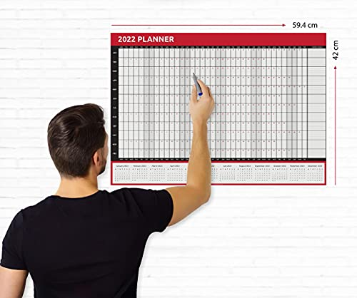 Wall Planner 2022 A2 Size (42.0 x 59.4cm) Full Year Calendar Home Office Work Jan to Dec