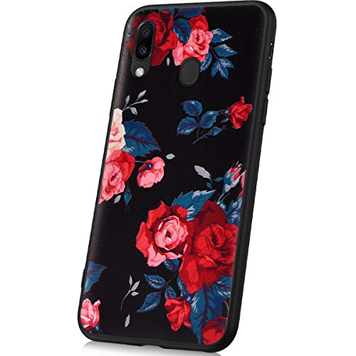 JAWSEU Kompatibel mit Samsung Galaxy M20 Hülle Schwarz Gemalt Muster Ultra Dünn TPU Silikon Handyhülle Kratzfest Schutzhülle Bumper Case Handy Tasche Backcover Hüllen für Galaxy M20, Rote Rose