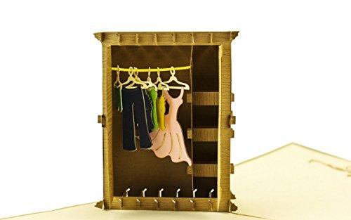 Shopping 3-D Pop Up Grußkarte Geburtstag Kleiderschrank Einkaufen Handmade 15x15cm