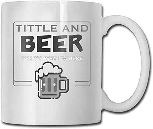 11 oz koffie mok, thee mok, tieten en bier dat waarom ik hier 2 koffie mokken reizen cadeau keramische thee beker, het perfecte cadeau voor familie en vrienden, leuke witte koffie Cup