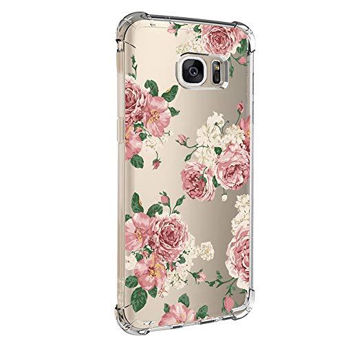 Pacyer kompatibel mit Galaxy S7 / S7 Edge Hülle Silikon cover Bumper [Ultra Dünn] Stoßfest Marmor grau hellblau TPU Schutzhülle Anti-Scratch Anti-Rutsch Handyhülle (Blumen 6, Samsung Galaxy S7)