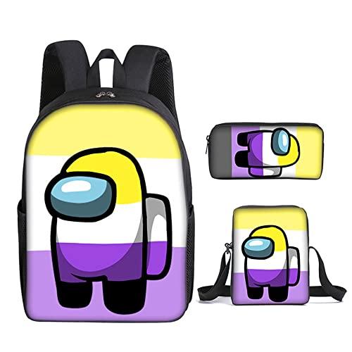 AMON US Mochila de 3 piezas, mochilas escolares para niños Mochila para estudiantes para niñas, adolescentes, fanáticos de los juegos, regalos (8)