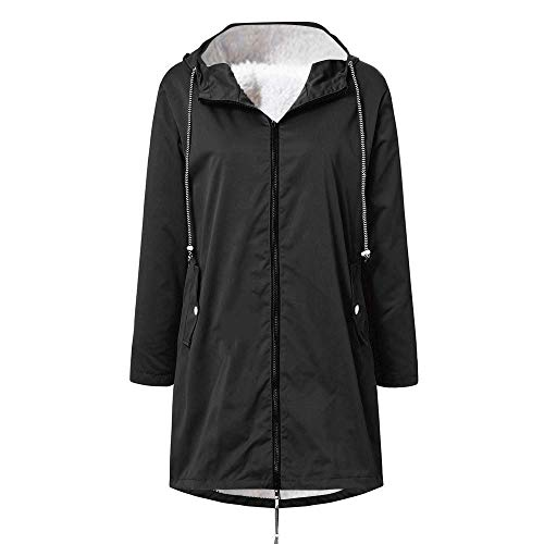 Pianshanzi Chaqueta de invierno para mujer, chaqueta de softshell, chubasquero forrado, impermeable, transpirable, cálida, para exterior, con capucha, cortavientos, Negro , XL
