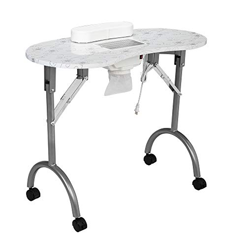 Nai Table Foldable Manicure Table with Drawer/Wrist Pad/Controllable Wheels/Carrying Case White