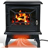 Electric Fireplace Heater, 20' Indoor Fireplace Stove with Thermostat & Realistic Flame Effect, 1500W Freestanding Portable Space Heater, Overheat Auto Shut Off Safety Function, CSA Certified