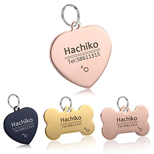 YVYOO Free Engraving Pet cat Collar Accessories Decoration Pet ID Dog Tags Collars Stainless Steel Dog cat tag Customized tag (Rose Gold Heart, M)