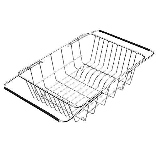 Qiwode Escurreplatos Extensible para escurreplatos, cestas de Secado de Platos para ollas, Cuencos y Utensilios de Cocina, Acero Inoxidable (Estilo A: Arch Net)