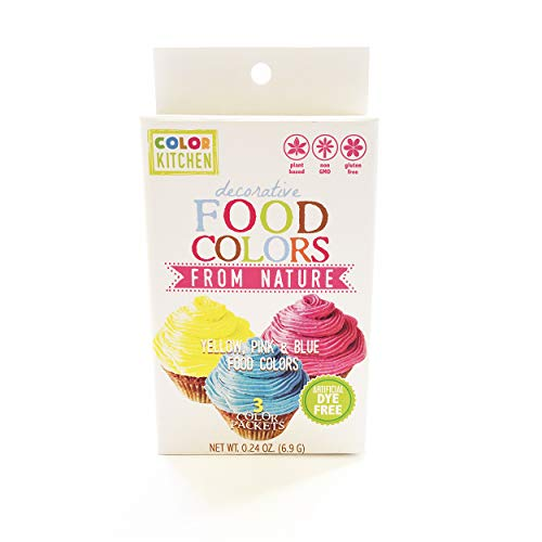 ColorKitchen Food Color Set of 3 (Pink, Blue, Yellow), .24 ounce, Food Coloring made with Plant-Based Ingredients and Naturally Sourced