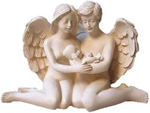 ZHIFENGLIU Artículos Decorativos Estatuas de Animales Figuras de jardín Resina Creativa Ángel Pareja sosteniendo bebé Novia Feliz Familia Escritorio Arte y artesanía Oficina