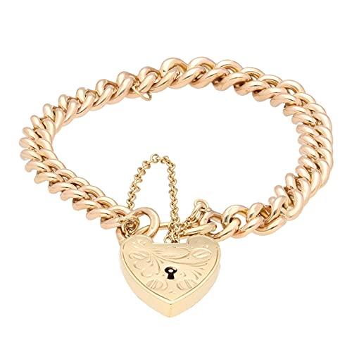 Jollys Jewellers Pulsera de oro rosa de 9 quilates para mujer de 18,4 cm y cierre de candado de corazón de oro amarillo de 9 quilates