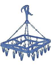 オーエ 洗濯 物干し ハンガー ブルー 約縦39×横32×高さ43cm マイランドリー2 角 平型 洗濯ばさみ 24個付き ピンチ 吊ひも 金属製 カモイフック付き