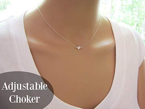 Tiny Sparkling CZ Choker Necklace – Sterling Silver Dainty Everyday Simple Jewelry – Diamond Alternative