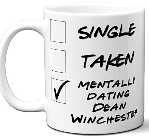 aza divertida de Dean Winchester. Café soltero, tomado, mentalmente saliendo, taza de té. La mejor idea de regalo para cualquier fan, amante de la serie de televisión sobrenatural. Mujeres, Ho