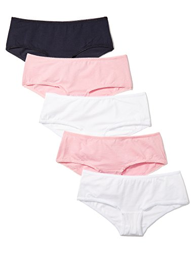 Marchio Amazon - Iris & Lilly BELK006M5, Hipster Donna, Pacco da 5, Multicolore (Pink Nectar/White/Navy Sky), Large (Talla produttore: Large)